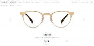 Warby Parker Glasses Hudson Gold Cat Eye Clubmaster