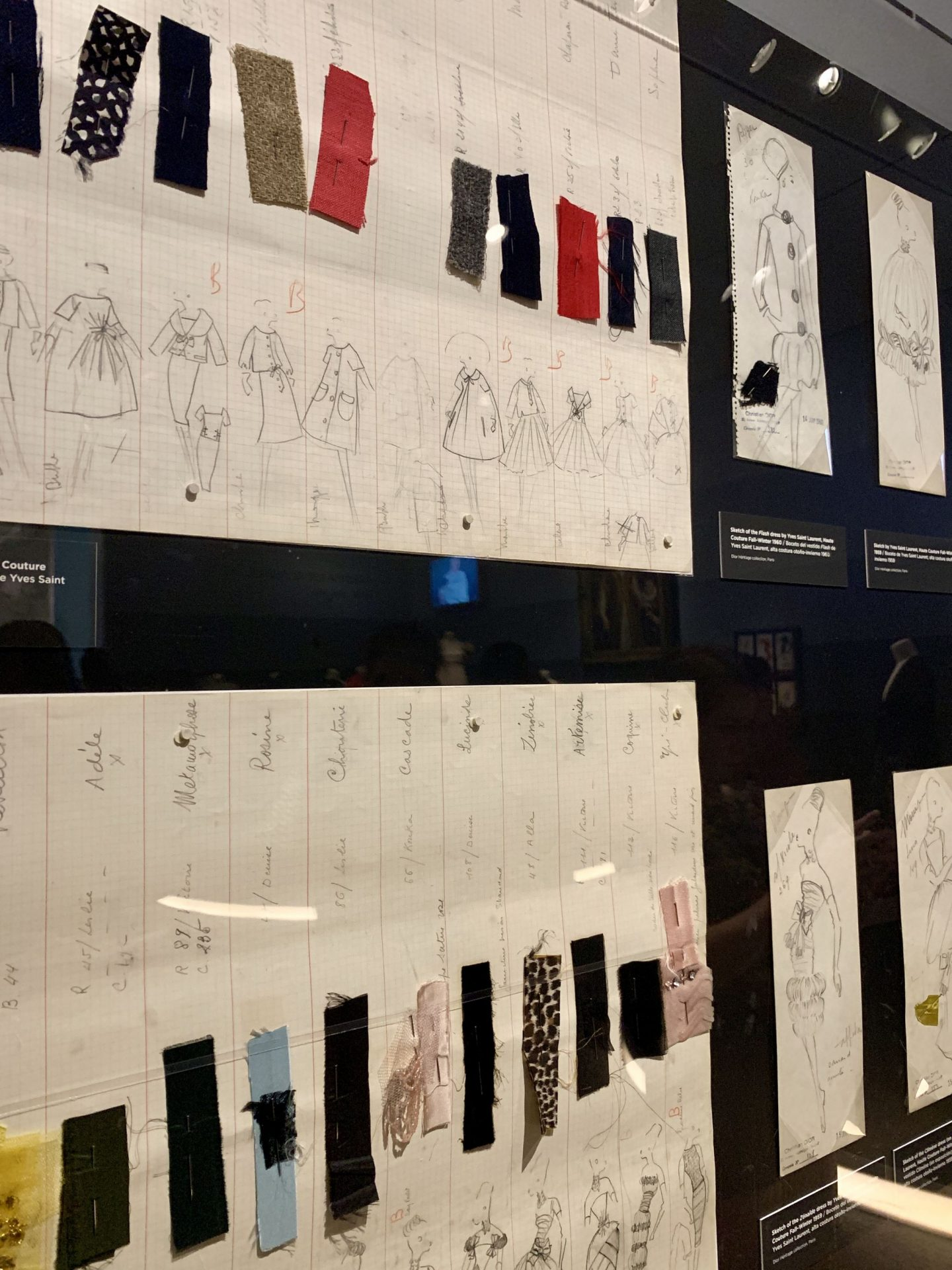Christian Dior Art Exhibit at the Dallas Museum of Art fabric swatches inspiration